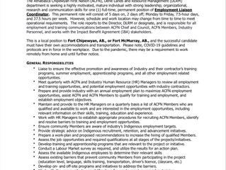 EMPLOYMENT OPPORTUNITY:  Employment Liaison Coordinator - ACFN/DLRM-2021-014