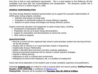 Employment Opportunity: Summer Student - Green Energy Research Assistant - ACFN-2020-008.