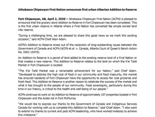 News Release: Athabasca Chipewyan First Nation announces first urban Albertan Addition to Reserve