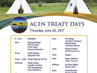 Schedule for ACFN Treaty Days