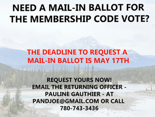Info re: Mail-in Ballots Requests for Membership Code Ratification on June 20th