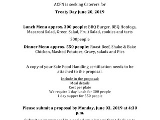 Catering Bid for ACFN Treaty Day on June 20, 2019