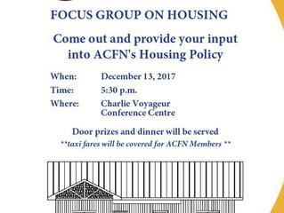 Housing Focus Group Next Week