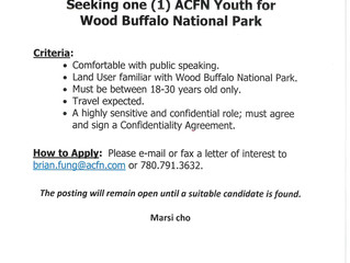 Seeking one (1) ACFN Youth for Wood Buffalo National Park