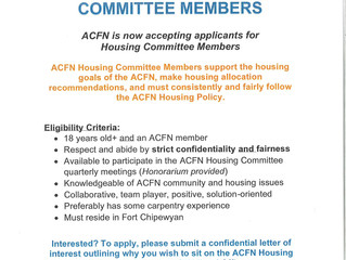 Call Out for ACFN Housing Committee Members - Apply by:  February 7, 2020