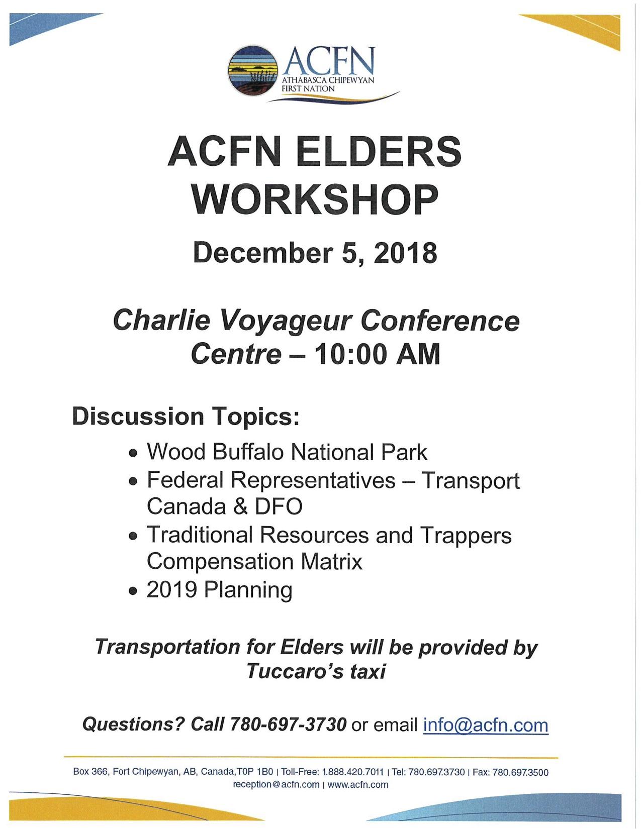 Elders Workshop in Fort Chipewyan - December 5, 2018