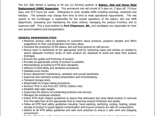Employment Opportunity:  Bakery, Deli and Home Meal Replacement Supervisor - ACFN/KTM-2021-002