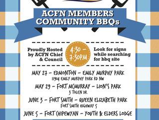 Upcoming ACFN Members Community BBQs!