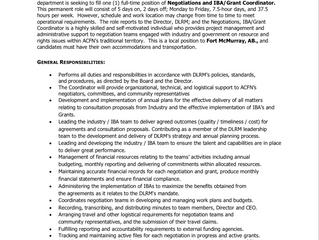 Employment Opportunity:  Negotiations, IBA/Grant Coordinator - ACFN/DLRM-2020-022