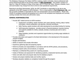 EMPLOYMENT OPPORTUNITY:  ISET Coordinator - ACFN-2021-029