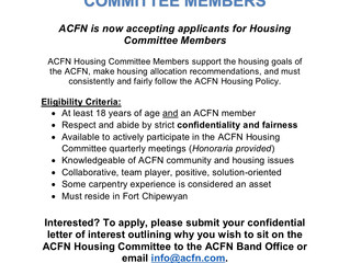 Call out for ACFN Housing Committee Members