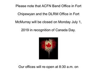 Canada Day Office closure