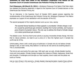 ACFN Statement on the Supreme Court of Canada Greenhouse Gas Pollution Pricing Act decision