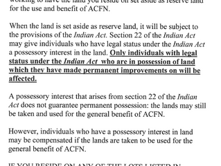 ACFN Reserve Land Creation Notice