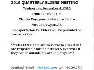 2019 Quarterly Elders Meeting -      Wednesday, December 4, 2019