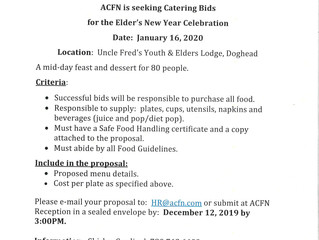 Request for Bids - Elder's New Year Celebration on January 16, 2020