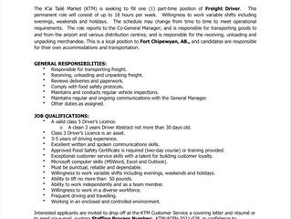 EMPLOYMENT OPPORTUNITY:  Part-Time Freight Driver - K'ai Tailé Market - KTM/ACFN-2021-028
