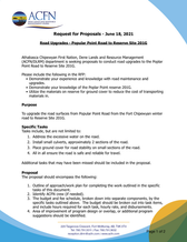 Request for Proposals - Road Upgrades - Popular Point Road to Reserve Site 201G - June 18, 2021