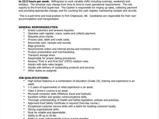 Employment Opportunity:  Part-time Cashier - KTM-ACFN-2020-015