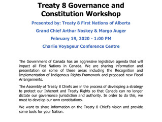 Treaty 8 FNA Governance Workshop is TOMORROW!