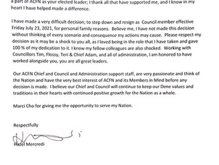 July 21, 2021 - Statement from ACFN Councillor Hazel Mercredi and ACFN Chief and Council