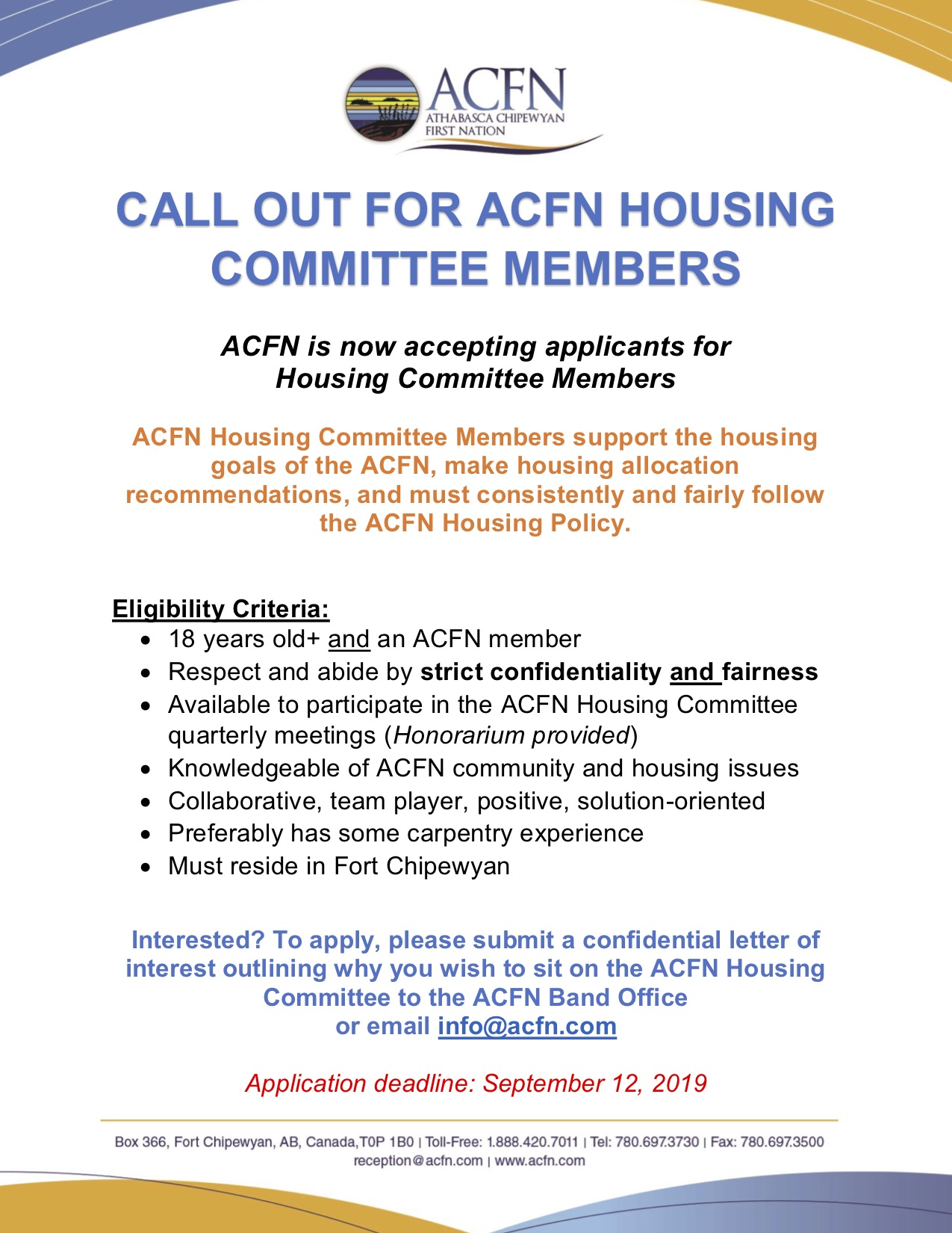 ACFN Housing Committee - Call out for Membership