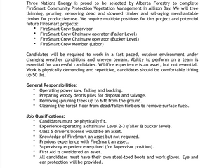 Employment Opportunities: FireSmart Team Members (Various Positions), Three Nations Energy, Fort Chi