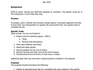 Request for Proposals - Potato Garden.  Proposals due by June 2, 2020
