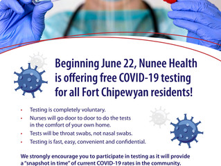 Nunee Health offers free in-home COVID-19 testing in Fort Chipewyan beginning June 22