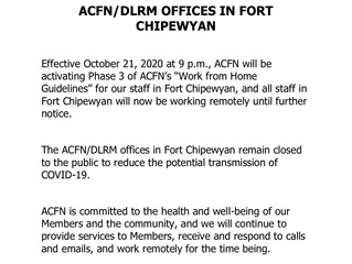 Notice Regarding ACFN/DLRM Offices in Fort Chipewyan