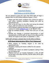 Important Notice: Phased Staff Return to ACFN Offices Beginning August 3