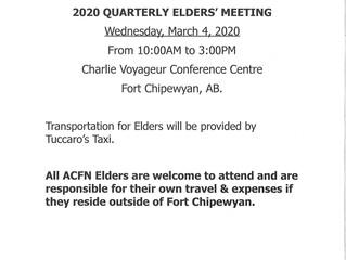 Quarterly Elders' Meeting:  March 4, 2020