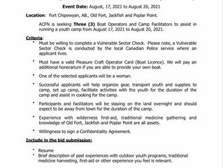 Request for Bids:  Youth Camp - Boat Operator/Facilitator - July 29, 2021
