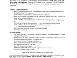 Employment Opportunity - Uncle Fred's Youth and Elders Lodge Assistant