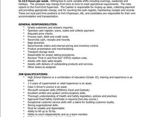 EMPLOYMENT OPPORTUNITY:  Part-time Cashier - K'ai Tailé Market - KTM/ACFN-2021-025