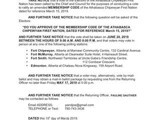 Membership Code - Notice of Vote: June 20, 2019