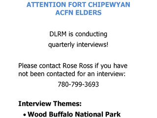 DLRM Quarterly Elders Interviews -        Fort Chipewyan