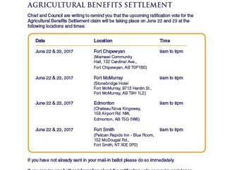 Ratification Vote - Agricultural Settlement