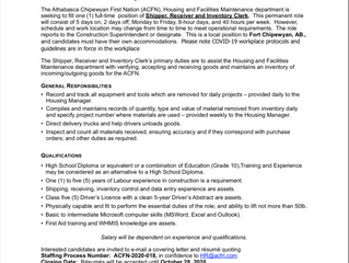 Employment Opportunity - Shipper, Receiver and Inventory Clerk - ACFN-2020-018.