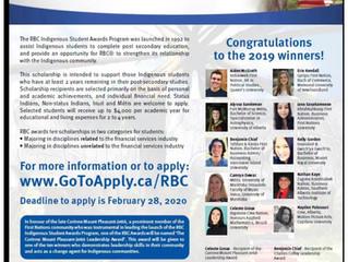 RBC 2020 Indigenous Student Awards Program - Deadline to apply: Feb 28, 2020