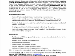 EMPLOYMENT OPPORTUNITY - Summer Student Youth Administrative Assistant - ACFN-2021-015 - May 19, 202