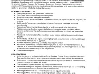 Employment Opportunity- Government Relations Coordinator