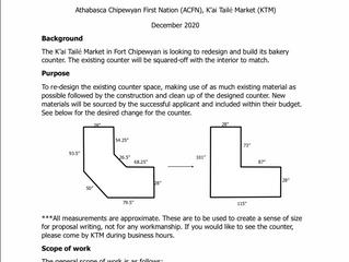 Request for Proposals:  K'ai Tailé Market - Bakery Counter Millwork Re-design