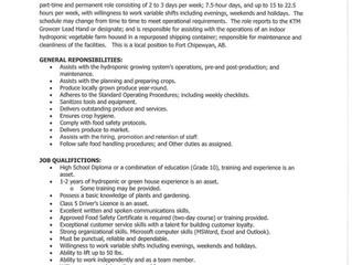 Employment Opportunity - Growcer Assistant - K'ai Tailé Market