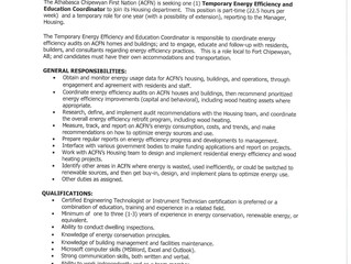 Employment Opportunity - Temporary Energy Efficiency and Education Coordinator