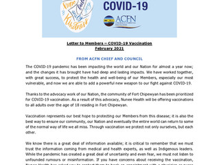Chief and Council Letter to Members - COVID-19 Vaccination