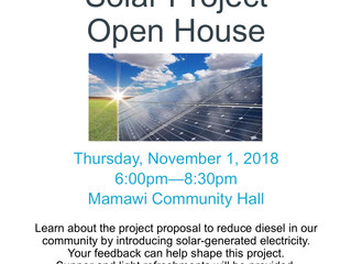Solar Project Open House in Fort Chipewyan - November 1st!