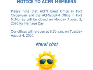 Notice of Office Closure - August 3