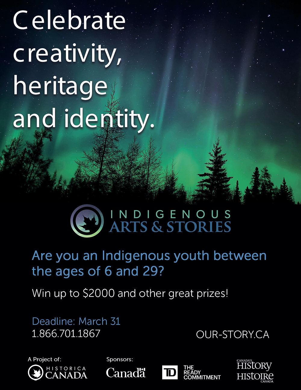 identified Indigenous youth ages 6-29 in Canada. Our contest deadline is coming up on March 31. This contest aims to provide an opportunity towards cultural revitalization among Indigenous youth, as well as a national platform for expression. Youth are encouraged to submit pieces exploring Indigenous heritage, culture, or identity. Prizes include up to $2000 in cash and a trip to Ottawa to be honoured at the Governor General's History Awards. More information about the contest can be found on our website: our-story.ca