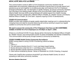 Nunee Health Board Society Coronavirus Briefing April 7, 2020